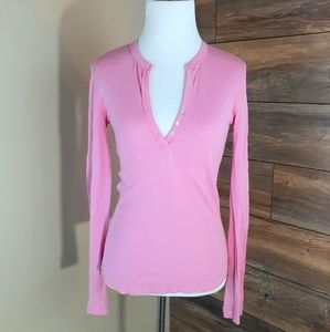 Bubble Gum Pink Henley Top by VS PINK